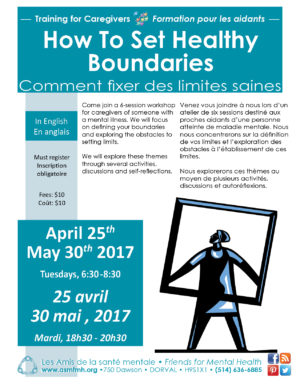 [:en]How to Set Healthy Boundaries (training in English)[:fr]Comment fixer les limites saines (formation en anglais)[:] @ Les Amis de la santé mentale | Dorval | Québec | Canada