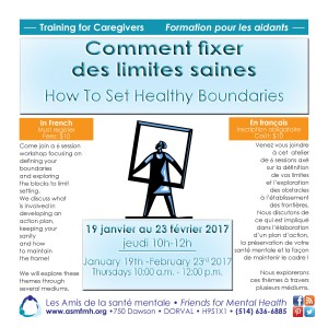 How to Set Healthy Boundaries (training in French) @ Les Amis de la santé mentale | Dorval | Québec | Canada