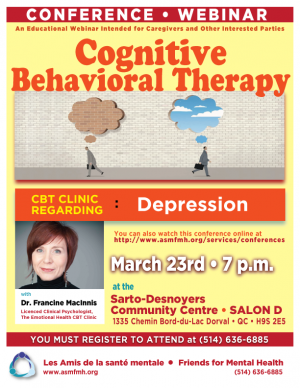Conference Webinar:Cognitive Behavioral Therapy-Depression @ Sarto-Desnoyers Community Centre | Dorval | Québec | Canada