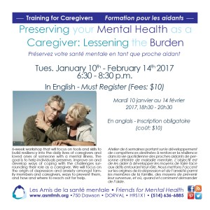 Preserving Your Mental Health as a Caregiver: Lessening the burden @ Les Amis de la santé mentale | Dorval | Québec | Canada